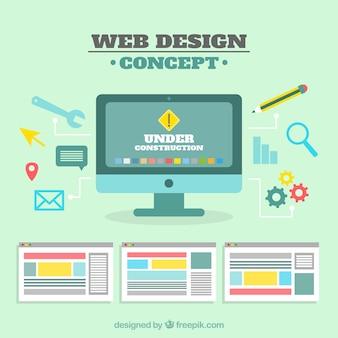 Nowoczesna koncepcja projektowania sieci web z płaska konstrukcja