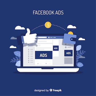 Nowoczesna koncepcja reklamy facebook z płaskiej konstrukcji