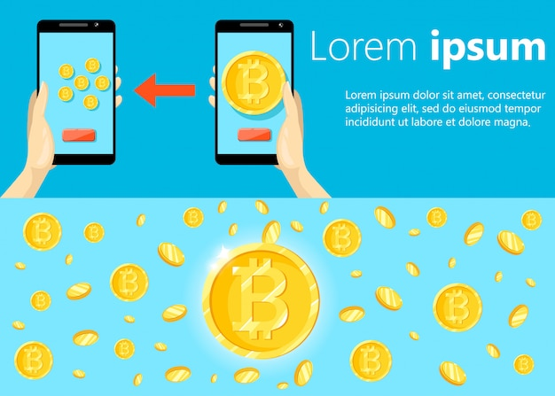 Nowoczesna koncepcja technologii kryptowalut, giełdy bitcoinów, wydobywania bitcoinów, bankowości mobilnej. dłoń trzymająca telefon komórkowy z przenoszeniem bitcoinów do portfela.