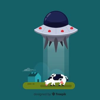 Nowoczesna koncepcja uprowadzenia ufo z płaskim projektem