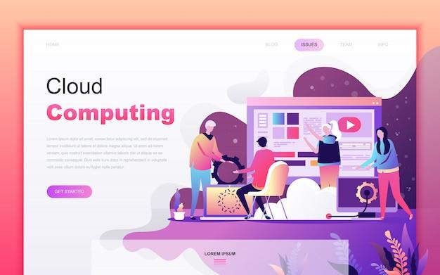 Nowoczesna kreskówka płaski cloud computing