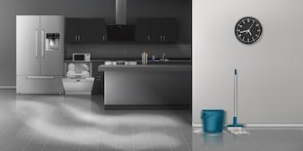 Nowoczesna kuchnia czyszczenia realistyczne tło