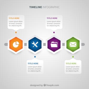 Nowoczesna linia czasu z stylem geometrycznym