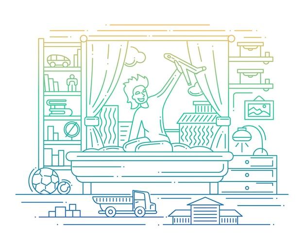 Nowoczesna linia płaska kompozycja i chłopiec bawiący się w swoim pokoju - kolor gradientu