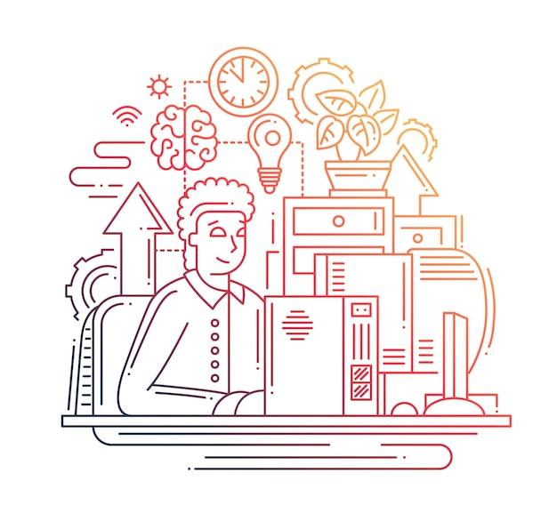 Nowoczesna linia płaska kompozycja komunikacji internetowej i człowiek pracujący przy komputerze - kolor gradientu