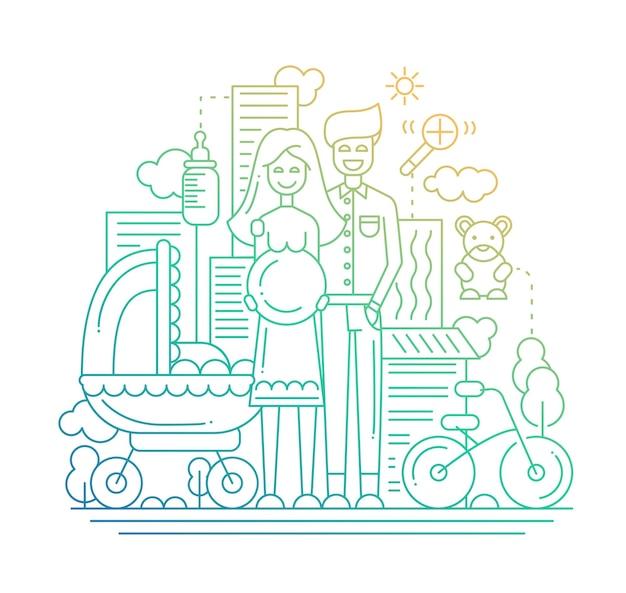 Nowoczesna linia płaska kompozycja miasta i szczęśliwa rodzina spodziewa się dziecka