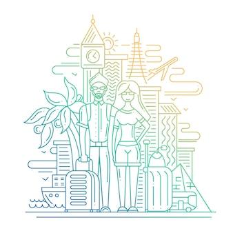 Nowoczesna linia płaska kompozycja podróżnicza z podróżującą parą i - gradientem kolorów