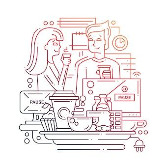 Nowoczesna linia płaska kompozycja przerwa na kawę oraz mężczyzna i kobieta piją kawę w biurze - gradient kolorów