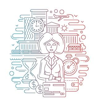 Nowoczesna linia płaska konstrukcja czas to kompozycja pieniędzy i bizneswoman - gradient kolorów