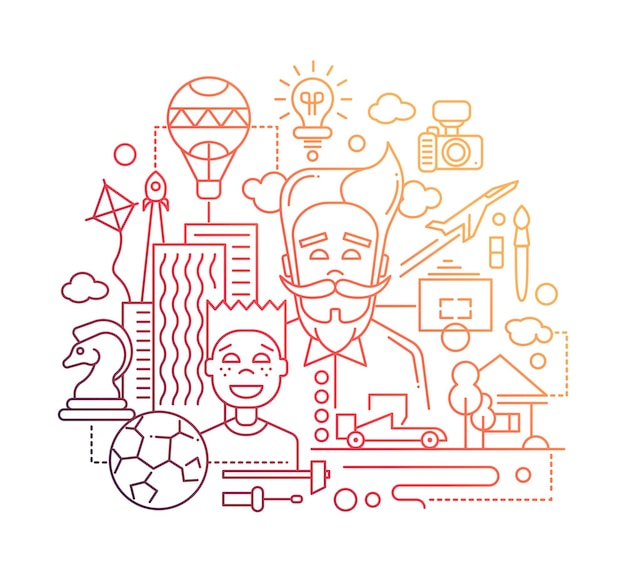 Nowoczesna linia płaska konstrukcja szczęśliwa kompozycja ojca i syna z typowymi symbolami hobby i - kolorem gradientowym
