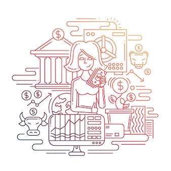 Nowoczesna linia płaska konstrukcja tworzy kompozycję pieniędzy, a dzięki bizneswoman i zarządzaniu finansami - gradient kolorów
