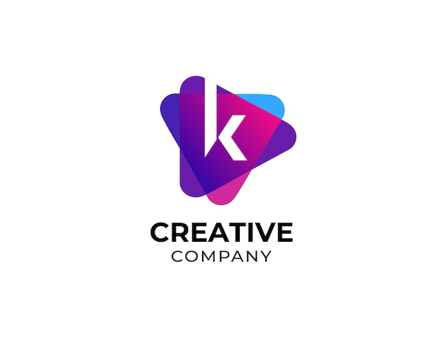 Nowoczesna litera k grać szablon projektu logo mediów