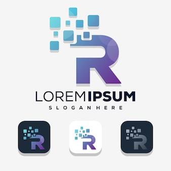 Nowoczesna litera r z cyfrowym projektem logo