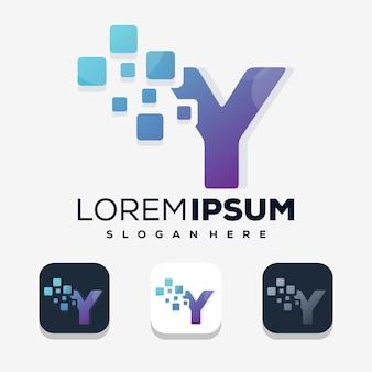 Nowoczesna litera y z cyfrowym szablonem logo