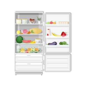 Nowoczesna lodówka z otwieranymi drzwiami, pełna różnych zdrowych wegetariańskich potraw