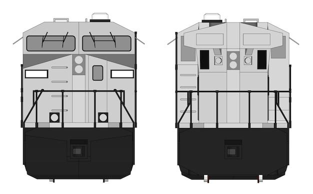 Nowoczesna lokomotywa spalinowa o dużej mocy i sile do poruszania długich i ciężkich pociągów kolejowych. ilustracja wektorowa z liniami obrysu konturu.