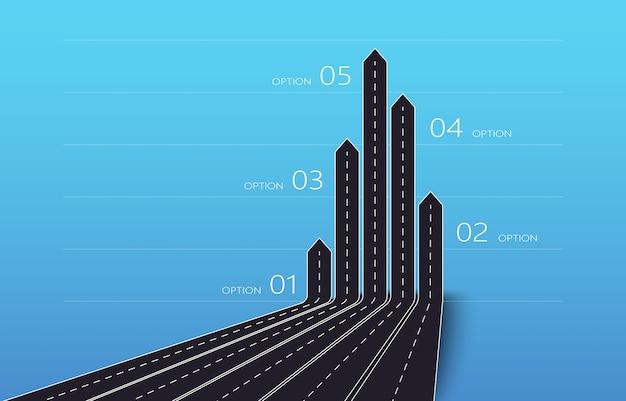 Nowoczesna mapa dróg ze strzałkami 3d przedstawiająca plan biznesu i podróży z pięcioma opcjami