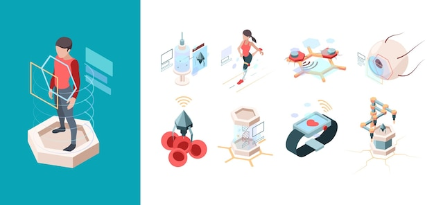 Nowoczesna medycyna. nanotechnologia przyszłościowe systemy nanorobotów zestaw izometryczny bio narządów.