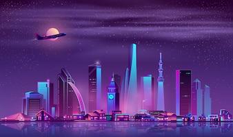 Nowoczesna metropolia noc gród kreskówka wektor