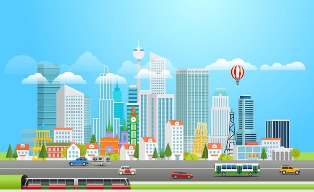 Nowoczesna metropolia z samochodami.