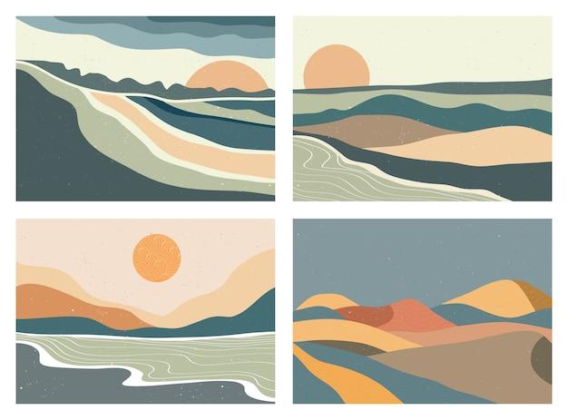 Nowoczesna minimalistyczna grafika z połowy wieku. abstrakcyjne współczesne estetyczne tła krajobrazy ustawione ze słońcem, księżycem, morzem, górami. ilustracje wektorowe