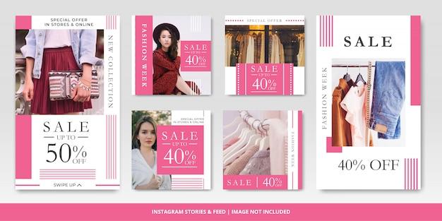 Nowoczesna moda sprzedaż instagram post i historie szablon