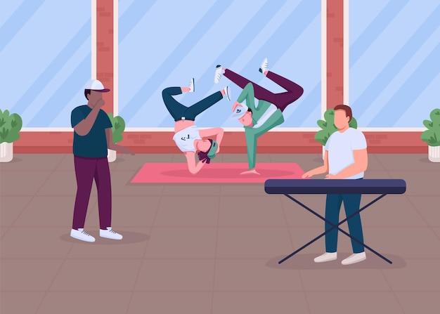 Nowoczesna muzyka hip-hopowa pokazuje płaski kolor. wyjątkowy występ taneczny w domu. hip hopowi muzycy i tancerze 2d z postaciami z kreskówek ze stylowymi apartamentami