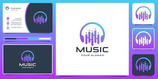 Nowoczesna muzyka logo z projektem tonu korektora i wizytówką. kreatywna muzyka, element odtwarzacza muzyki.
