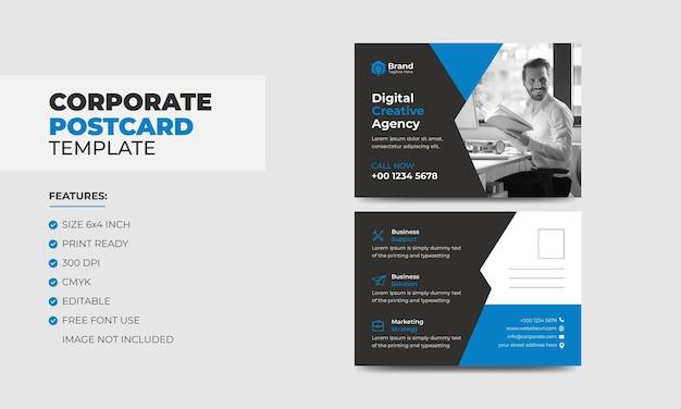 Nowoczesna niebieska korporacyjna pocztówka biznesowa szablon projektu