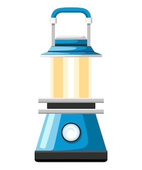 Nowoczesna niebieska lampa naftowa. latarnia kempingowa. wygląda jak lampa gazowa. płaskie ilustracja na białym tle.