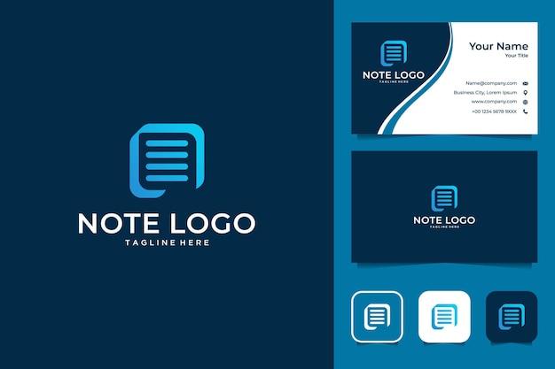 Nowoczesna notatka z logo litery n i wizytówką