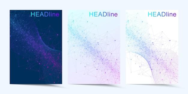 Nowoczesna okładka. kompozycja abstrakcyjna sztuki z łączącymi liniami i kropkami. przepływ fal. technologia cyfrowa, nauka lub koncepcja medyczna.