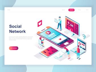 Nowoczesna płaska izometryczna koncepcja sieci społecznościowej