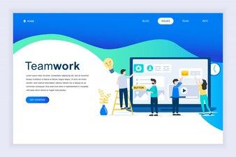 Nowoczesna płaska koncepcja pracy zespołowej na stronie internetowej