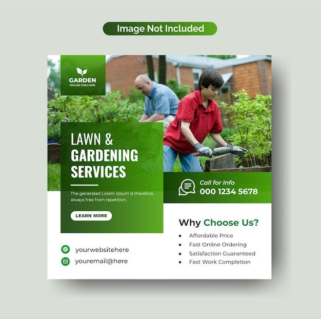 Nowoczesna pielęgnacja trawnika lub usługi kształtowania krajobrazu post instagram i szablon banera w mediach społecznościowych