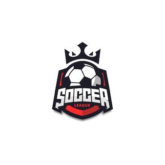 Nowoczesna Plakietka Z Logo Czerwonej Piłki Nożnej Premium Wektorów