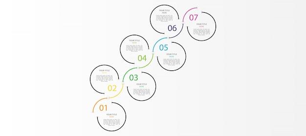 Nowoczesna plansza na osi czasu z 7 krokami lub opcjami