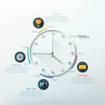 Nowoczesna plansza na osi czasu z kreatywnym minimalnym zegarem