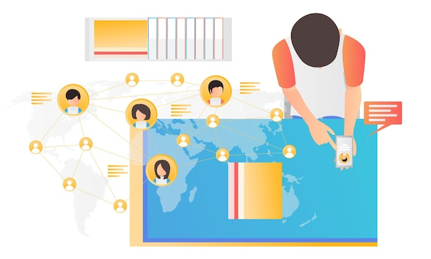 Nowoczesna, płaska ilustracja mężczyzny komunikującego się w mediach społecznościowych z ludźmi z całego świata
