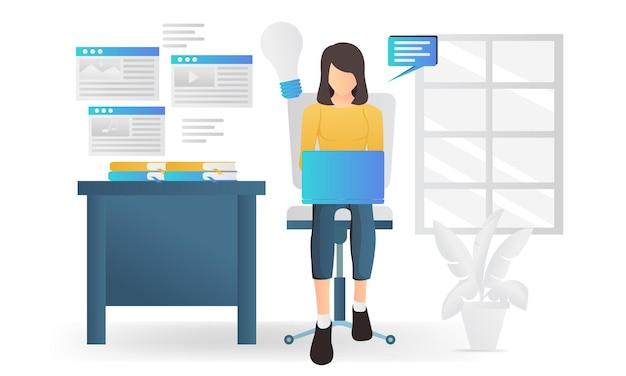 Nowoczesna, płaska ilustracja przedstawiająca twórcę treści strony internetowej pracującego z jego laptopem