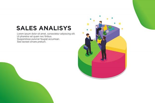 Nowoczesna płaska izometryczna koncepcja analiz sprzedaży
