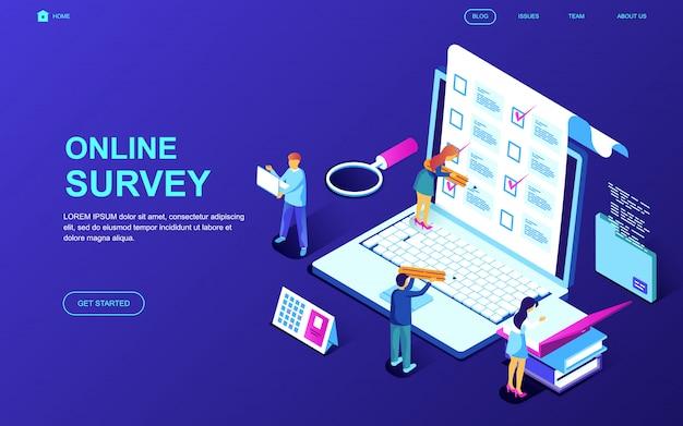 Nowoczesna, płaska izometryczna koncepcja ankiety online