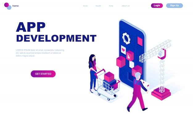 Nowoczesna płaska izometryczna koncepcja app development