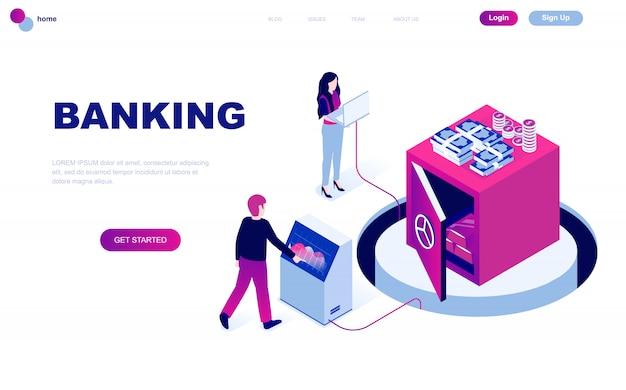 Nowoczesna płaska izometryczna koncepcja bankowości internetowej