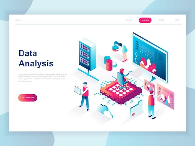 Nowoczesna płaska izometryczna koncepcja big data analysis