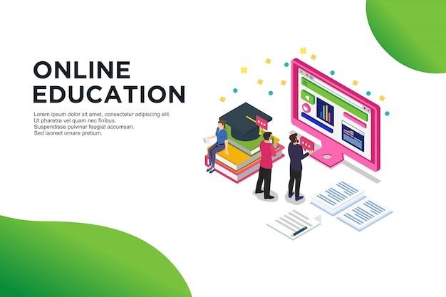 Nowoczesna płaska izometryczna koncepcja edukacji online
