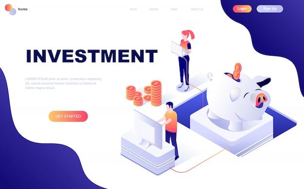 Nowoczesna płaska izometryczna koncepcja inwestycji biznesowych
