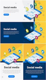 Nowoczesna płaska izometryczna koncepcja mediów społecznościowych