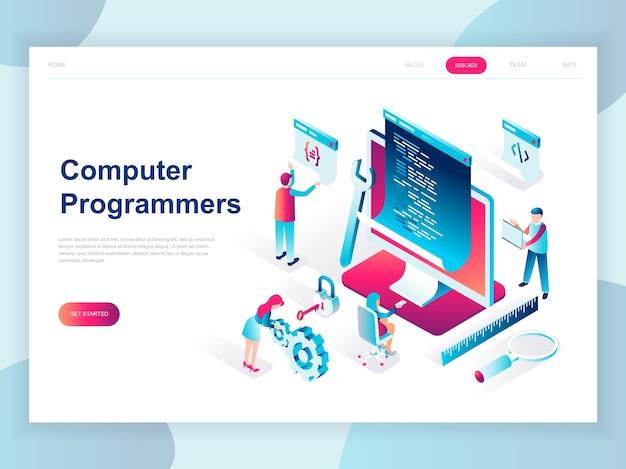 Nowoczesna płaska izometryczna koncepcja programistów komputerowych