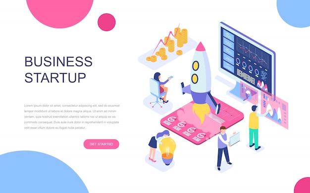 Nowoczesna płaska izometryczna koncepcja startup your project